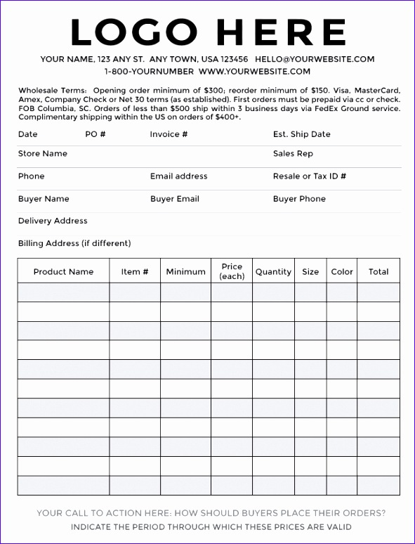 sample order form templates 591774