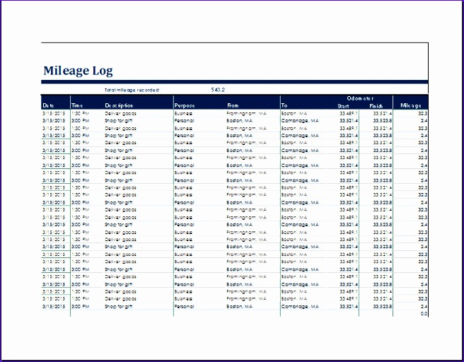 Mileage Log Template Excel  Exceltemplates  Exceltemplates