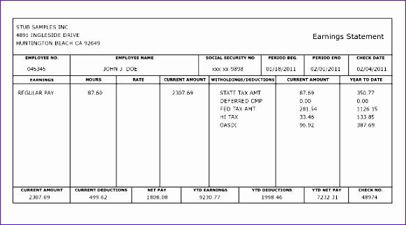 paycheck stub templates 582323