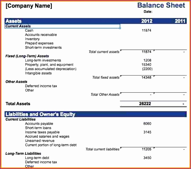 business balance sheet template 2