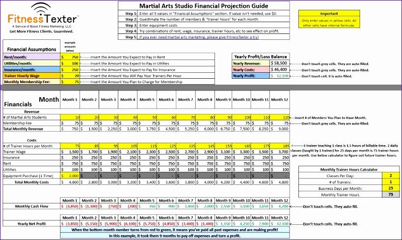 free martial arts studio excel spreadsheet 819488
