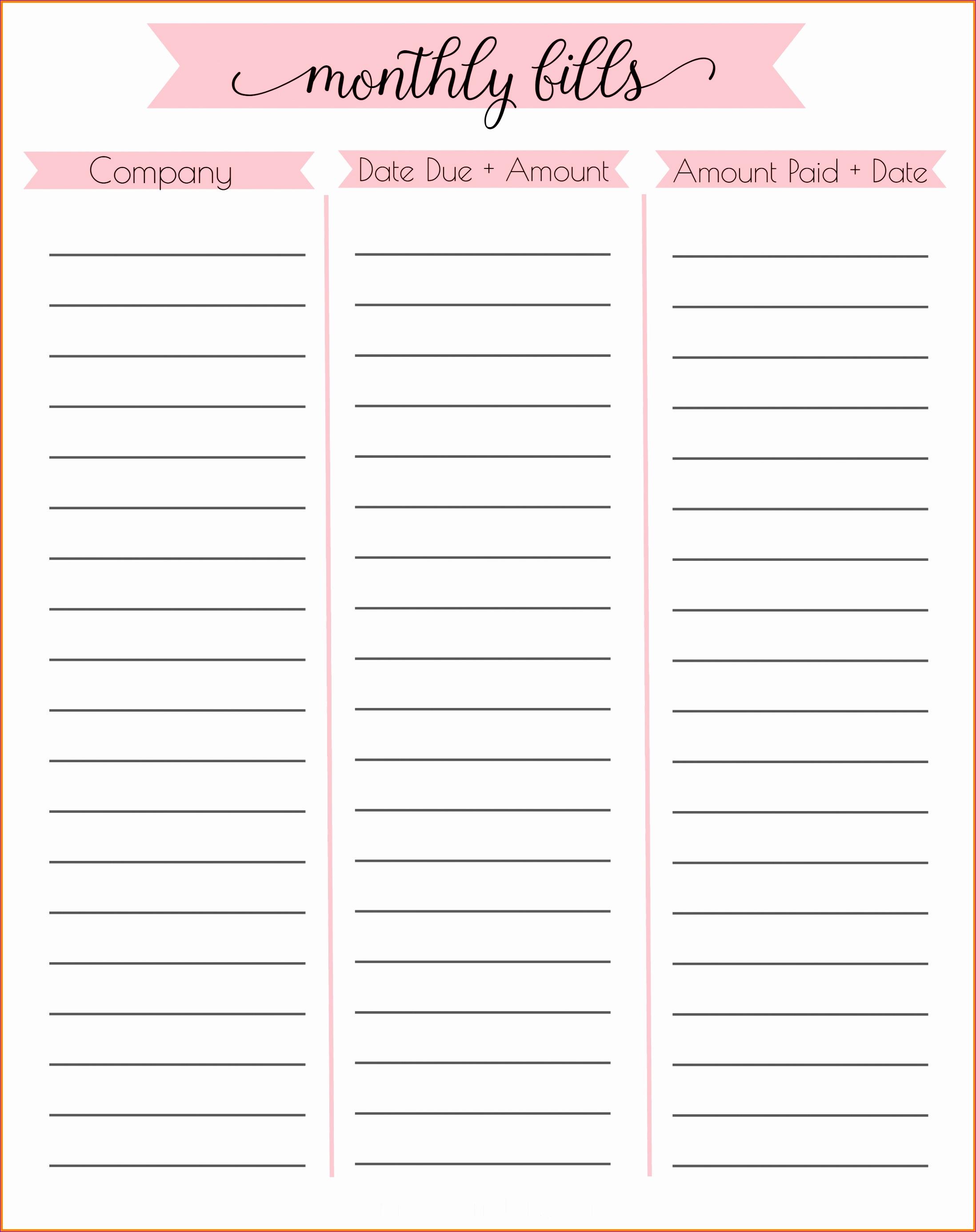 monthly bills checklist 21962772