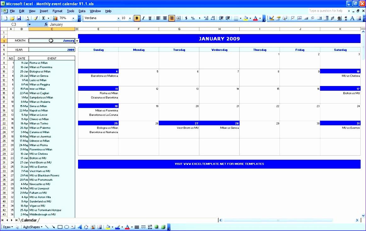 event calendar template