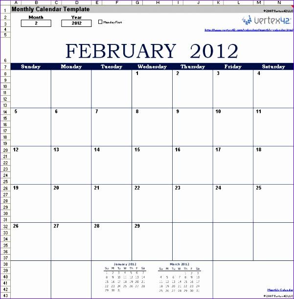 monthly calendar 601612