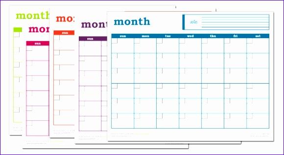 blank monthly calendar