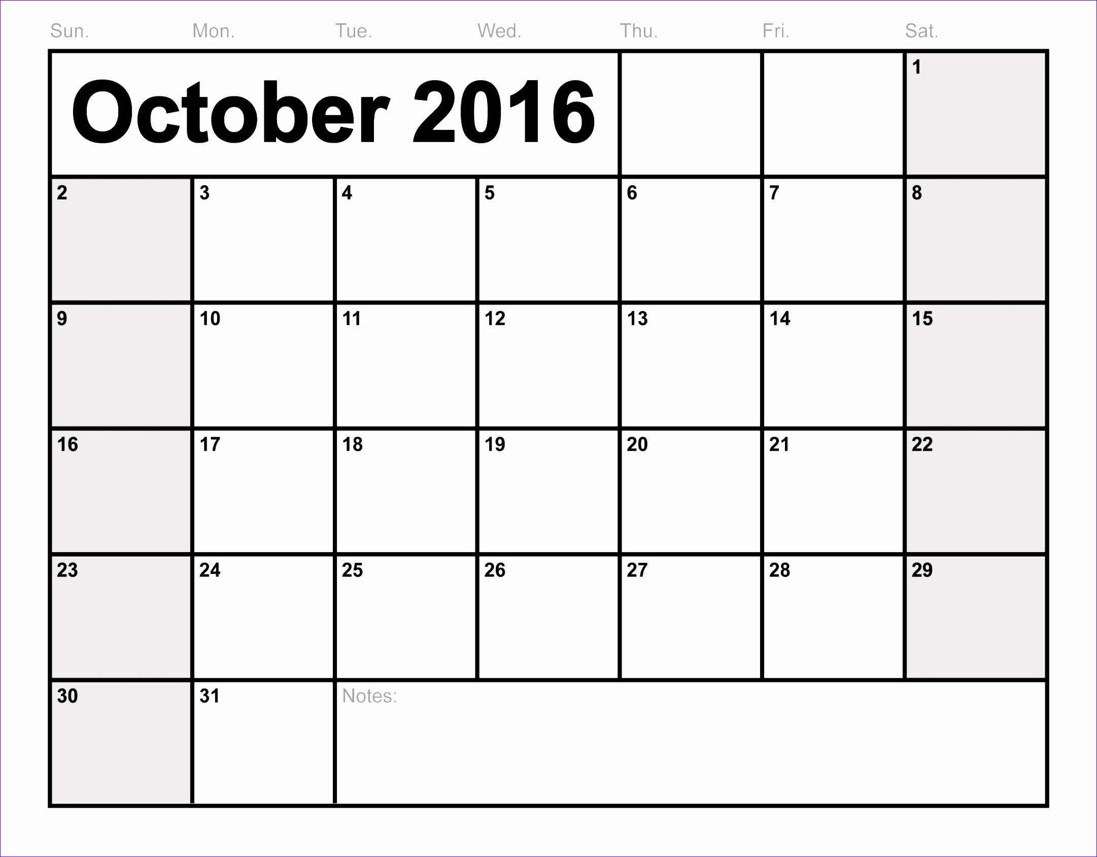 october 2016 calendar printable 2189