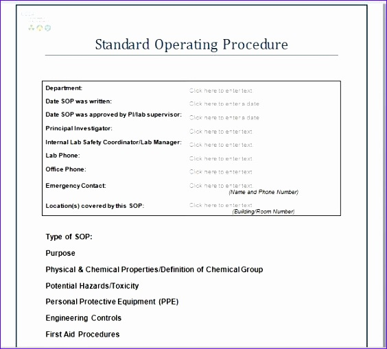 standard operating procedures template 564509