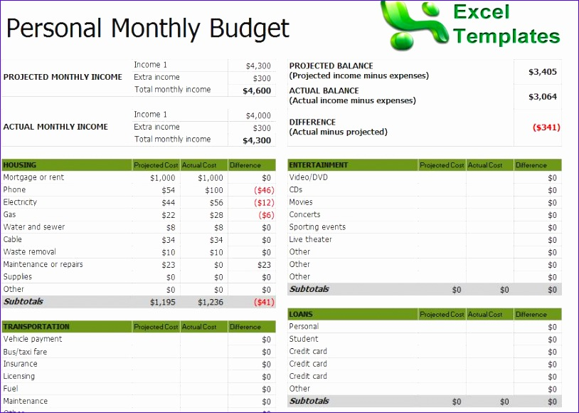 excel bud template 814580