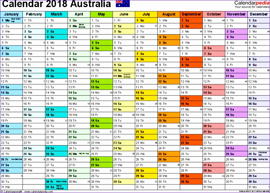 2018 calendar australia 1718 916654