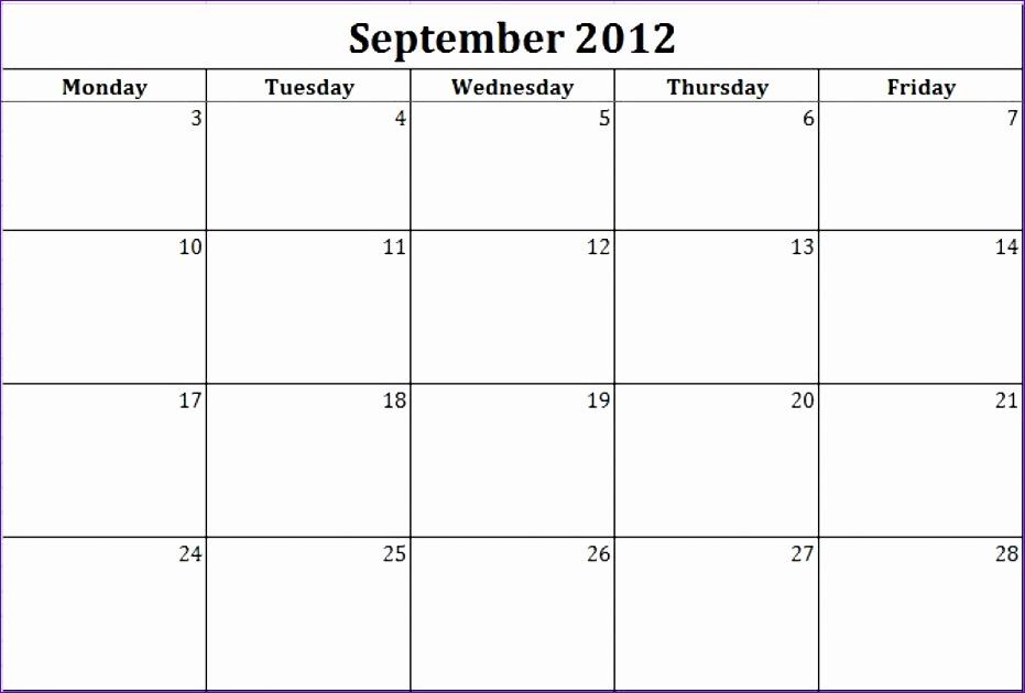 monday through friday printable calendar 931630