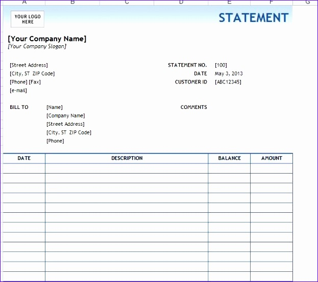 billing statement template 623554