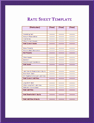 rate sheet template 374488