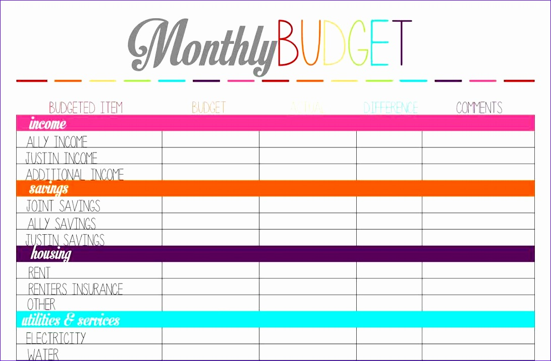printable monthly bud template 2