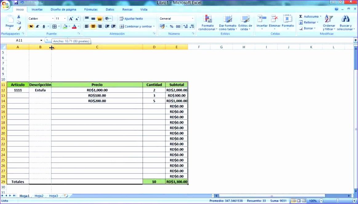 o crear una factura con calculo automatico con micrsoft excel tutorial