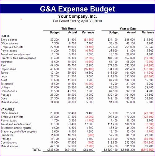 g a expense bud 654
