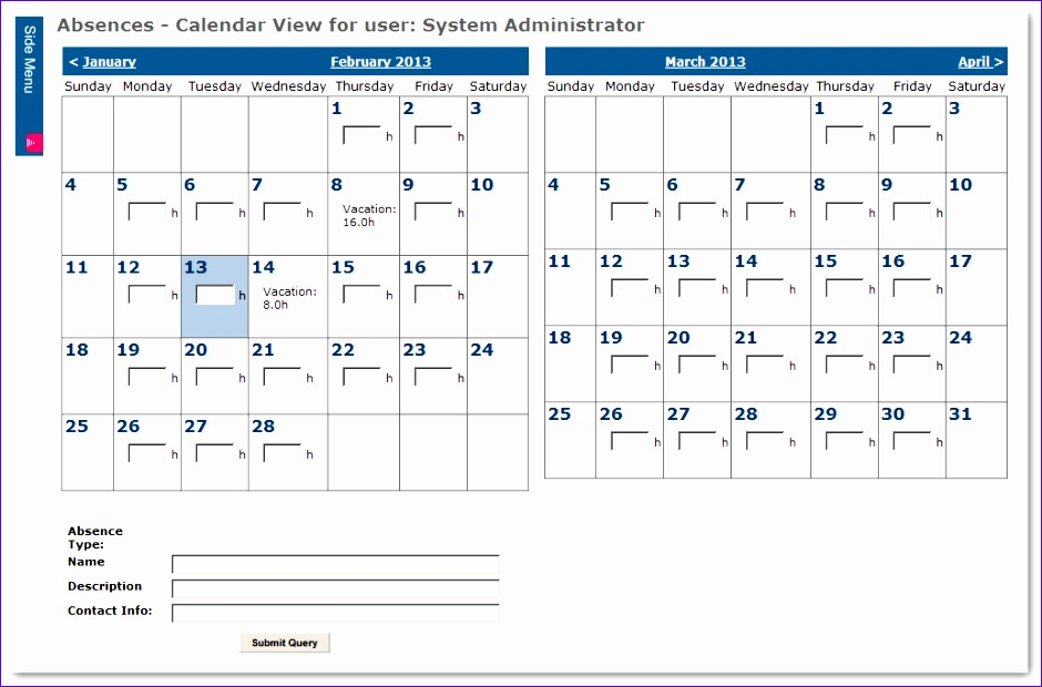 rfe absence management additional entry form 940620