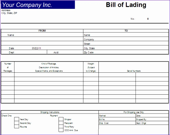 bill of lading template 673535