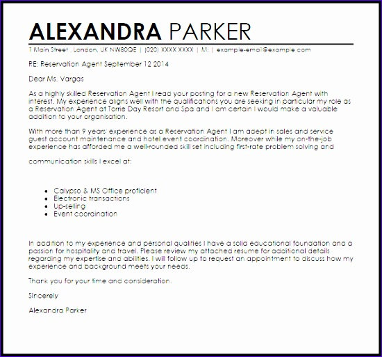 My Excel Templates Z7uku Awesome Reservation Agent Cover Letter Sample  605558