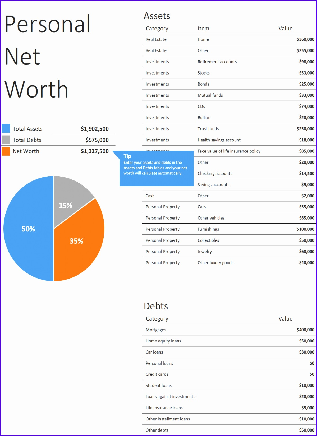 P02 Personal Net Worth Personal Net Worth Calculator Excel Financial Planning Funding 11991650