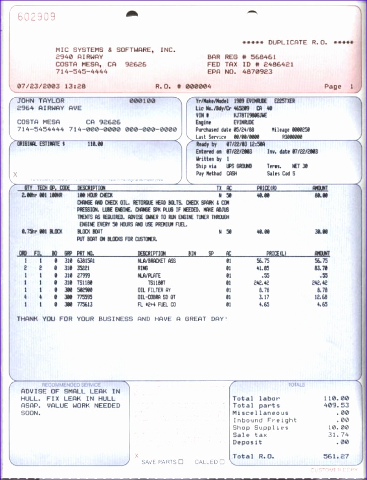 marine service repair order invoice sample 728952