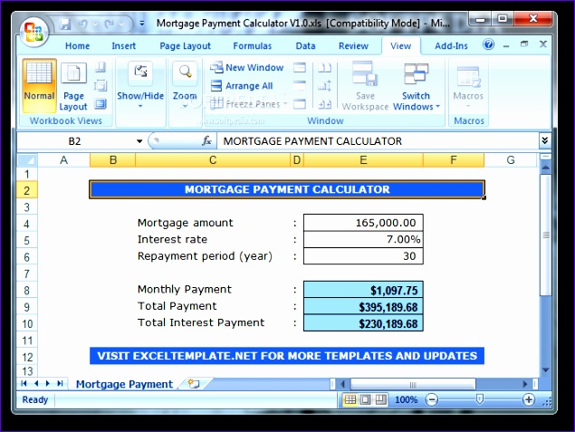 ExcelTemplates Mortgage Payment Calculatortml 635477