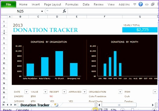 free donation tracking templates excel 527368