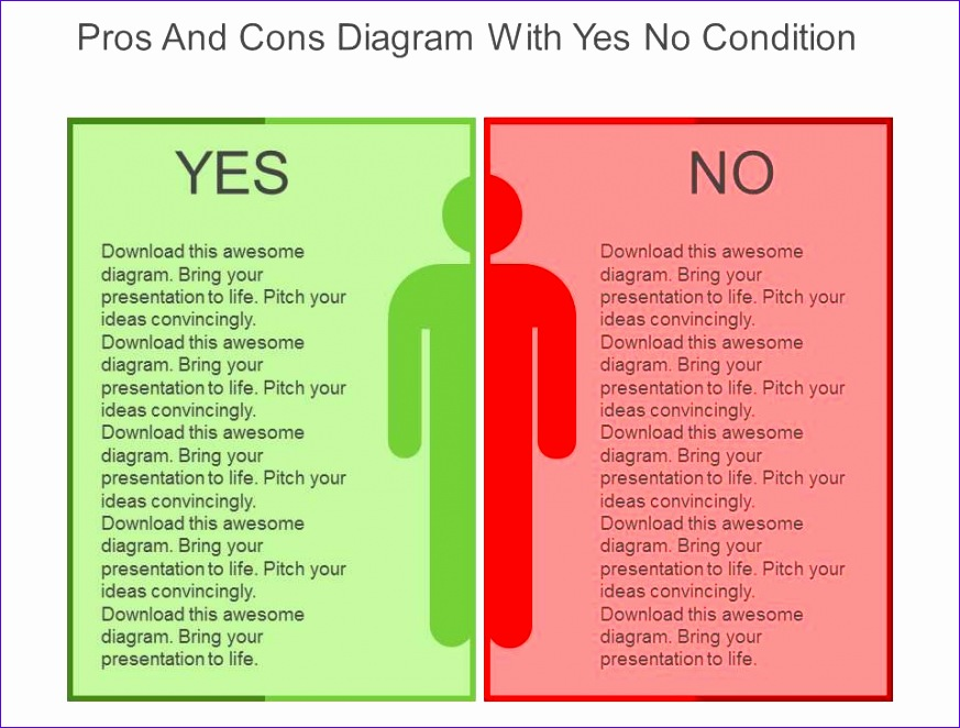 pros and cons diagram with yes no condition flat powerpoint design 873662