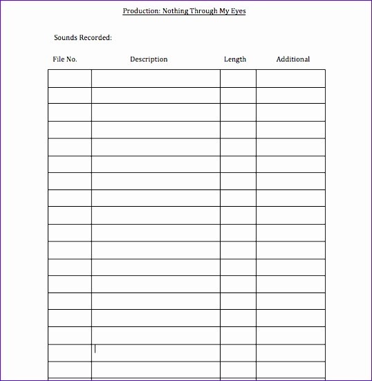 continuity log template 538551
