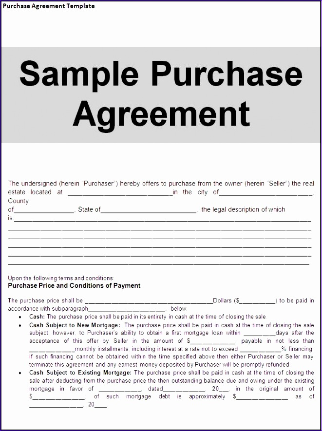 purchase agreement template page 661885
