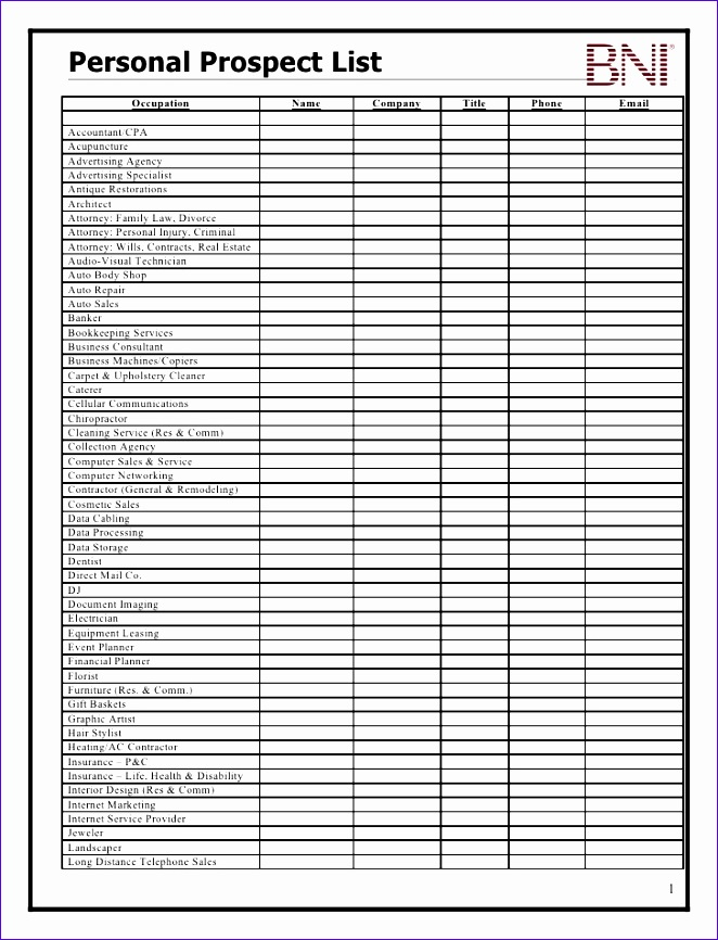 prospect list template 662866