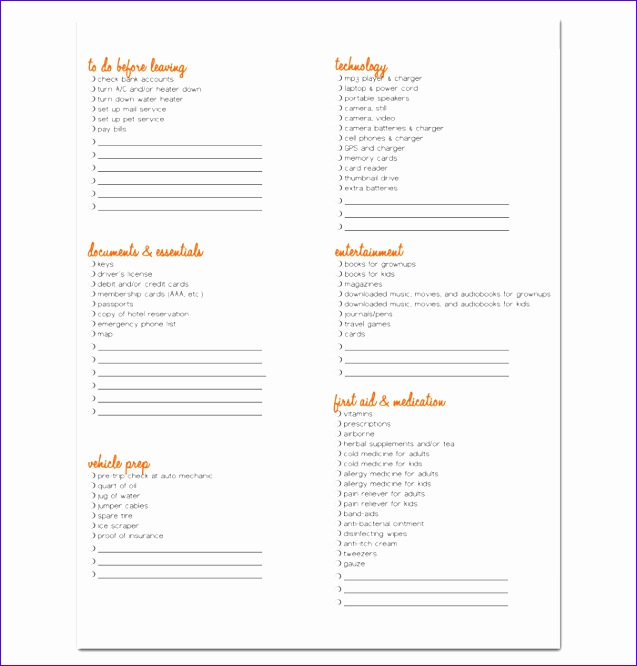 vacation packing list template 637666