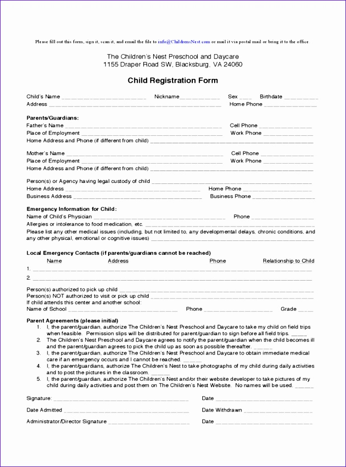 child registration form 698942