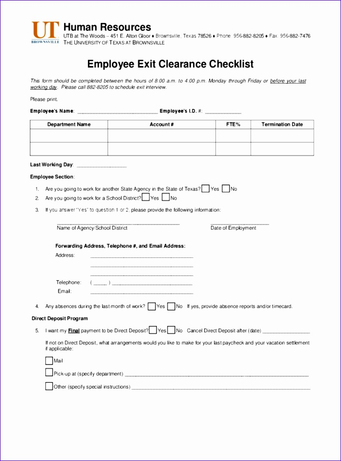 employee exit clearance checklist 698942