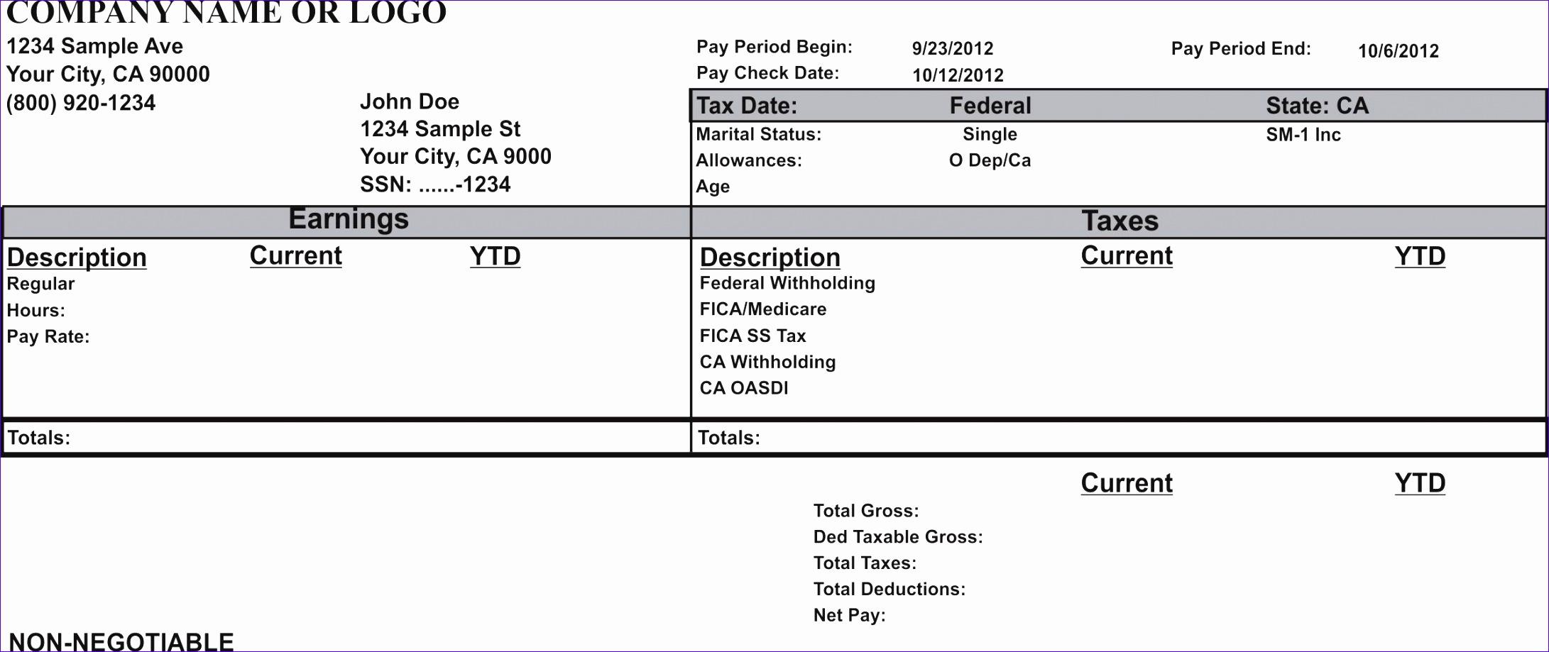 paycheck stub sample free 2182919