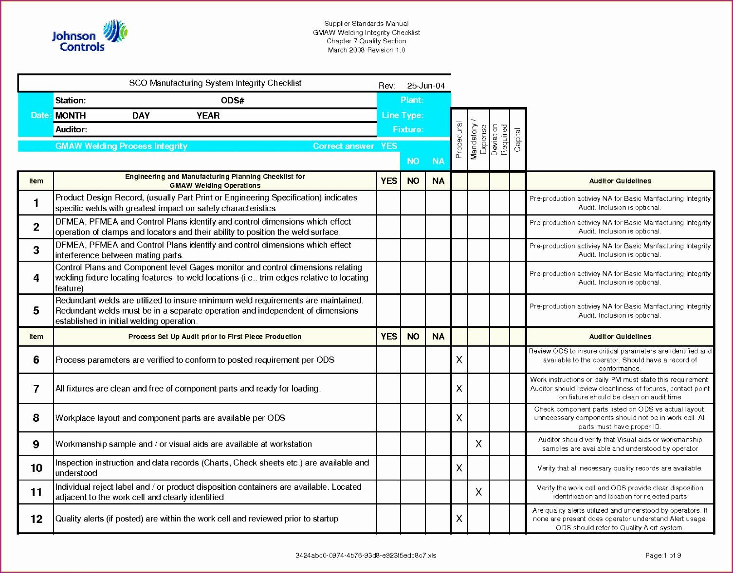 6 checklist template excel 15061178