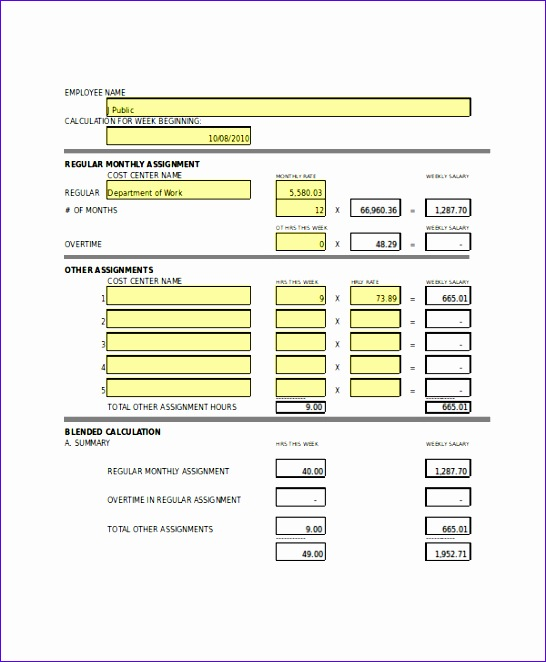 7 paycheck template excel - exceltemplates