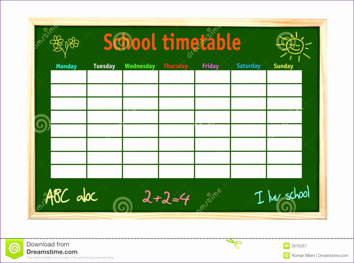 royalty free stock photography school timetable image