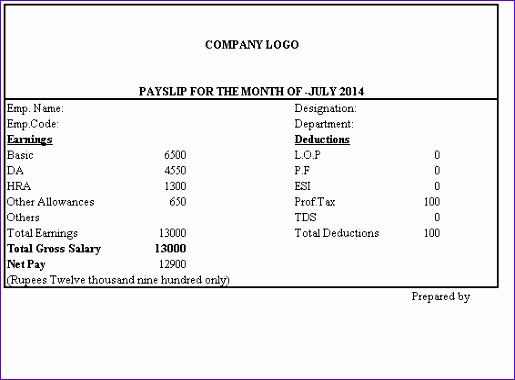 simple salary slip format without deductions 515380