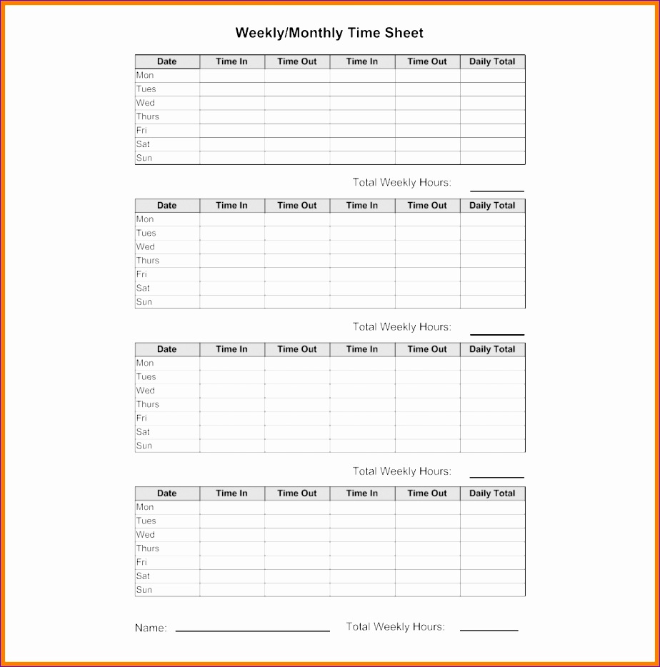 8 monthly timesheets 924934