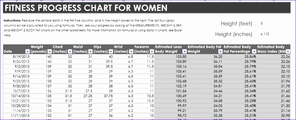 body measurement chart weight loss 990404