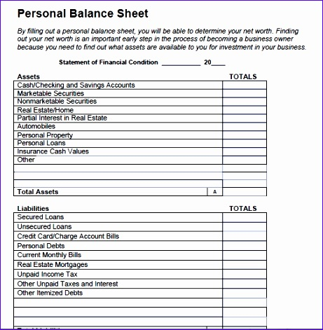 Free Printable And Blank Balance Sheet Template Samples  Free Printable Balance Sheet Template