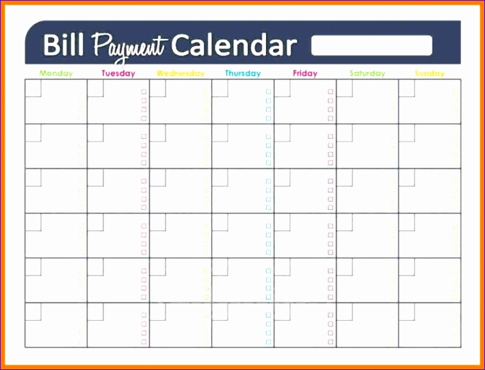 printable bill calendar template