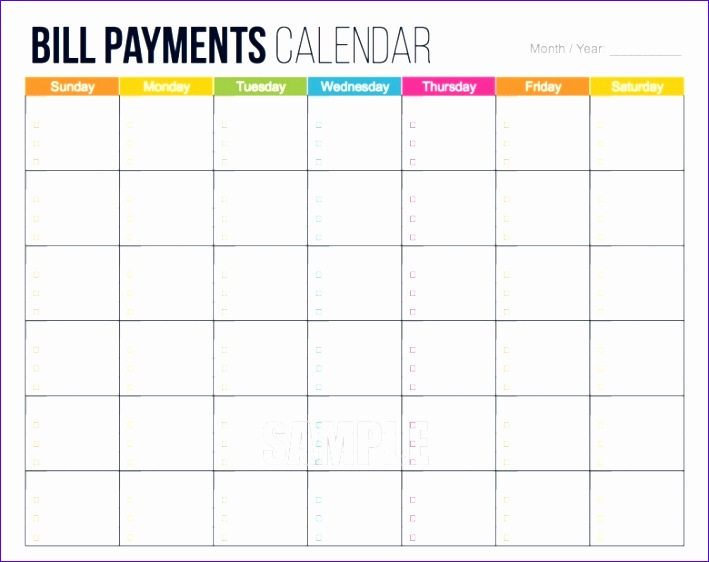 printable bill calendar template 709562