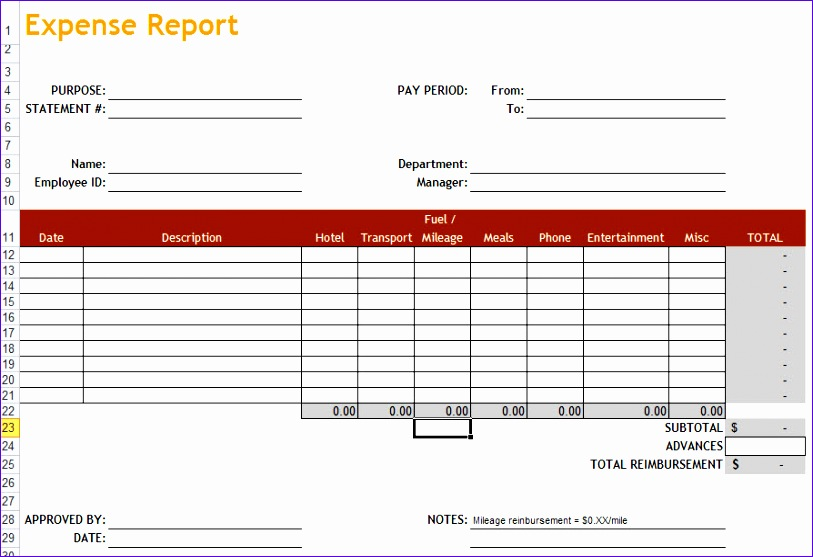 excel expense report template free 227 813557