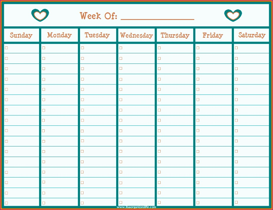 weekly calendar by hour 1847 928717