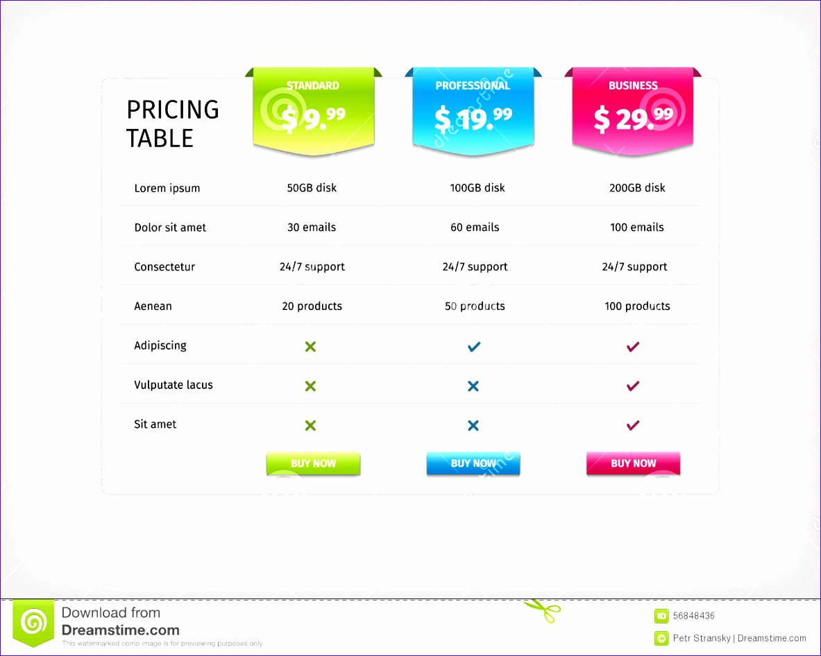 stock illustration colorful parison pricing table template services web business plan vector eps illustration d chart image 1183946