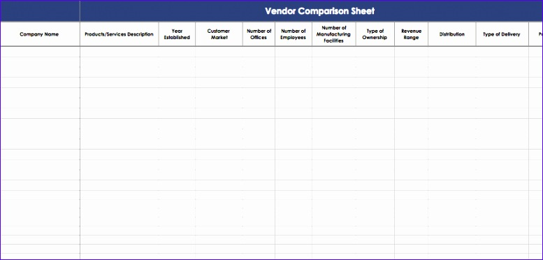 vendor parison template excel 1244 777372