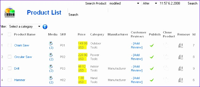 excel product list template 651284