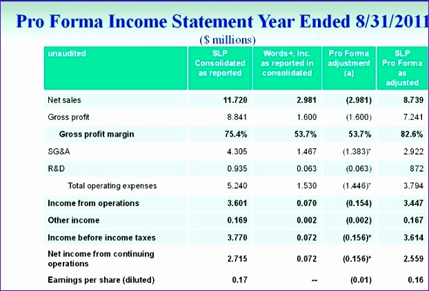 Pro Forma Income Statement Excel Template  Exceltemplates