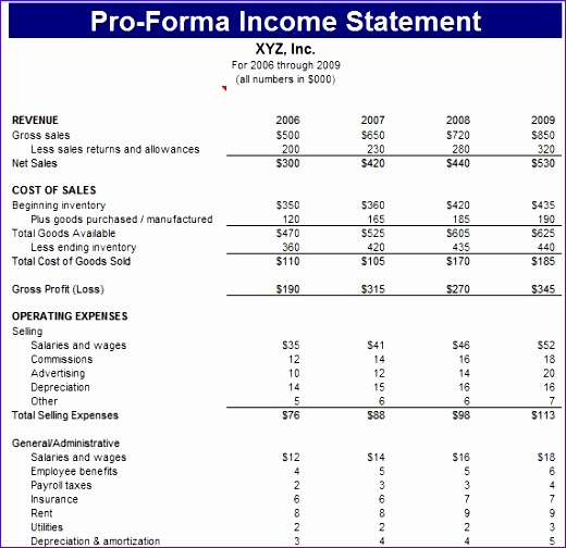Pro Forma Balance Sheet Template Excel: 8 Pro Forma Income Statement Excel Template